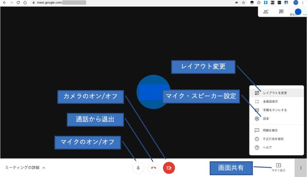 GoogleMeetミーティング画面